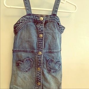 Denim by H&M Dress sz 2-3Y Button Up Hearts Tank